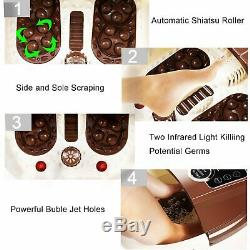 Foot Spa Bain Motorisé De Massage Rolling Massage Temps Réglable Portable