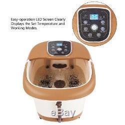 Foot Spa Eau Chaude Bain De Massage Réglable Temp Minuterie Chaleur Vibration 6 Rouleaux