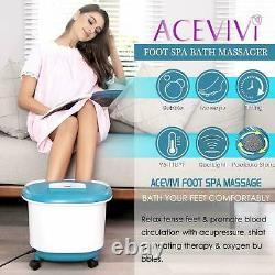 Massage De Bain De Spa De Pied Avec Des Bulles De Chaleur Vibratoires Rollers Temp Timer +
