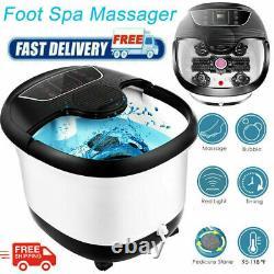 Massage De Bain De Spa De Pied Avec Des Bulles De Chaleur Vibratoires Rouleaux Temp Timer&