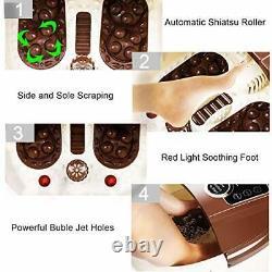 Massager Bain Spa Pour Les Pieds Avec Chaleur, 16 Pedicure Spa Motorisé Shiatsu Roller Brown