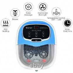 Portable All-in-one Heated Foot Bubble Spa Bath Motorized Massager-blue Color