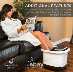 Portable Shiatsu Chauffant Bain De Pieds Massage Spa Avec Pierre Ponce, Jets D'eau, Adjus