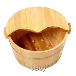 Pratique En Bois Pied Baignoire Bain Seau Avec Couvercle Pour Massage Des Pieds Spa Soaking